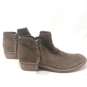 Dolce Vita Brown Suede Ankle Boots Low Heel Size 6